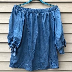 Do + Be Chambray Off Shoulder Top